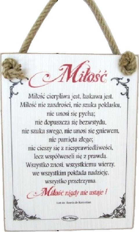 Tabliczka Drewniana Hymn Do Miłości Miłość Cierpliwa Jest łaskawa Jest