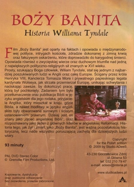 Boży Banita - Historia Williama Tyndale - film DVD